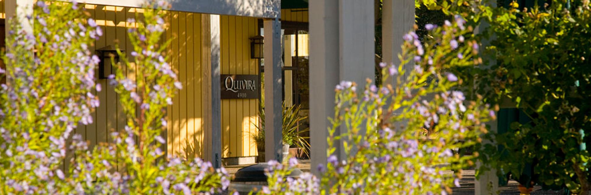 A picture of flowers with the Quivira sign in the background